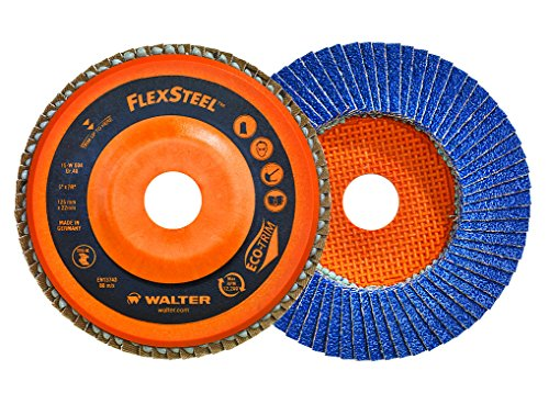 Walter 15W456 FLEXSTEEL Flap Disc [Pack of 10] - 60 Grit, 4-1/2 in. Grinding Disc for Angle Grinders. Abrasive Grinding Supplies