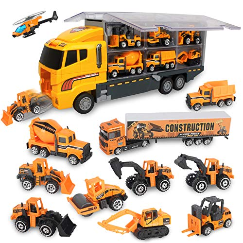 Jenilily Construction Trucks Die-cast Vehicle Toys, Container Car Set Mini Excavator Dump Truck Digger Backhoe for Children Boys Kids 3 4 5 Years Old