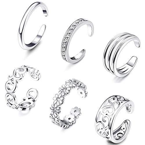 Milacolato Open Toe Rings Set for Women Girls Silver Simple Adjustable Knuckle Ring Foot Jewelry