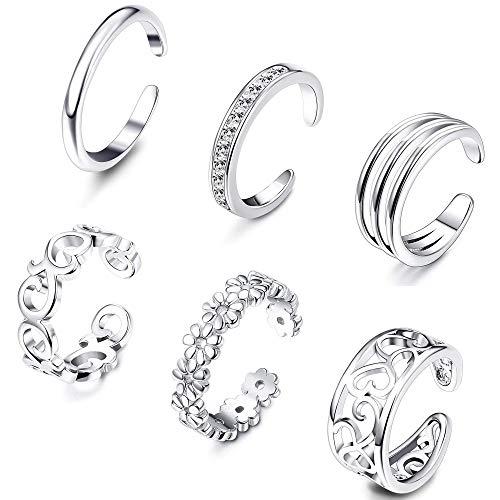 Milacolato Open Toe Rings Set for Women Girls Silver Simple Adjustable...