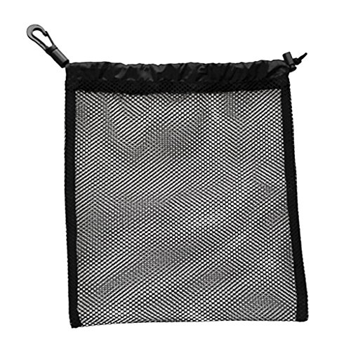 Sharplace Sac de Stockage de Balle de Golf/Tennis de Table en Filet de Maille Poche Transport à Cordon pour Golf/Tennis de Table - Noir, 24 x 24 cm
