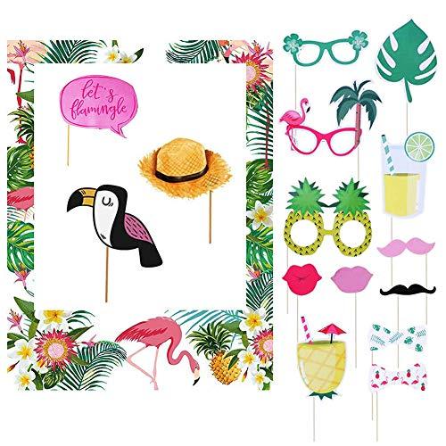 16pcs Hawaiian Summer Photo Frame Photo Booth Set Cornice Foto Album Flamingo Ananas Foto Puntelli Decorazione Tropicale del Partito Tiki Compleanno Baby Shower Bridal Shower Decorazioni di Nozze