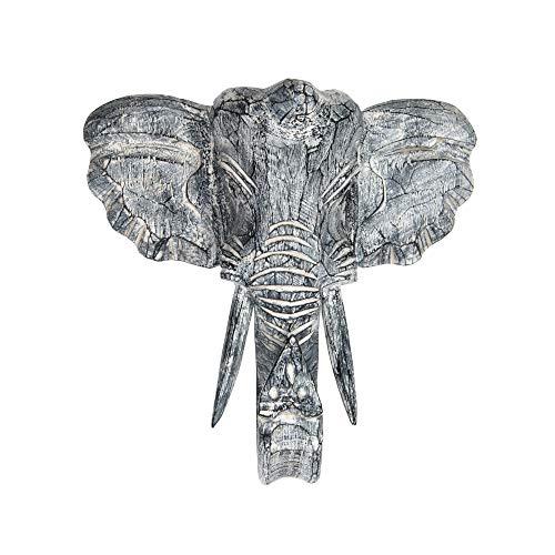Orient Express - Máscara de elefante de madera, decoración de pared, tallada, varios tamaños, producto hecho a mano