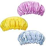 Satin Bonnets Kinder Einstellbares Elastisches Breitband Schlafmütze Doppelschicht Duschhut für Kleinkinder Kind Baby 3 Stück 3 Farbe