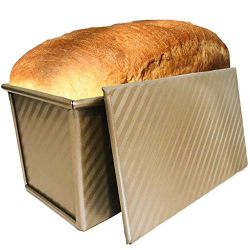 Pullman loaf pan with lid, Bread pans for baking toast mold or sandwich loaf, banana bread or sourdough, bread pan with lid by Oak and Noble GOLD