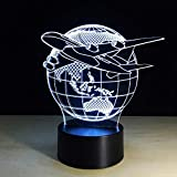 Juguete 3D avión avión de guerra modelo de lámpara luz de noche creativa lámpara de escritorio de avión de chorro táctil lámpara de ilusión de holograma Led