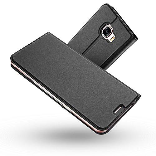 Radoo Galaxy A5 2017 Hülle, Premium PU Leder Handyhülle Brieftasche-Stil Magnetisch Klapphülle Etui Brieftasche Hülle Schutzhülle Tasche für Samsung Galaxy A5 2017 (Schwarz grau)
