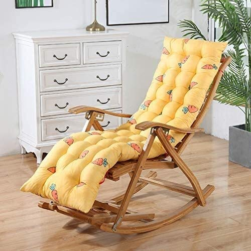 Mirui Sun Lounger Cushion Replacement Pad Portable Garden Patio Thick Padded Sunbed Cushion Recliner Relaxer Chair Pad With Non-slip Straps For Travel Camping (Color : Yellow carrot, Size : 155x48cm)