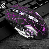 Veecome Rechargeable Wireless Silent LED Gaming Mouse USB Optical Mouse for PC Computer Peripherals Star Black Silent Edition