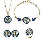 Evil Eye Anillos ajustables collar pulsera Pendientes conjunto, con Creado Azul y Blanco Zafiro Collar, de los anillos para las mujeres de las niñas