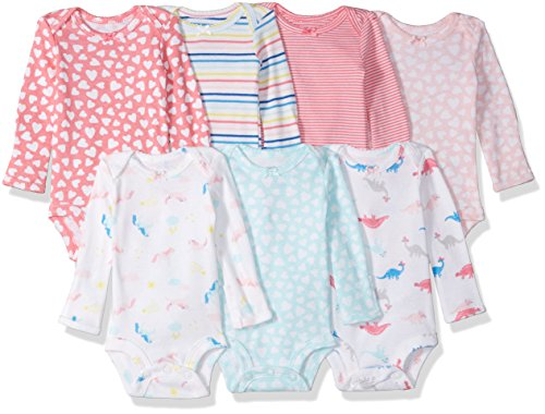 Carter's Baby 7 Pack Long Sleeve Bodysuits, rainbow hearts, 6 Months