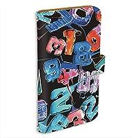 ZenFone 3 (ZE520KL) 用 PU手帳型 ミラータイプ スマホケース [キャンディロゴ・黒ブルー系] ロリポップ ペイント ナンバーズ ASUS エイスース ゼンフォンスリーSIMフリー スタンド スマホカバー 携帯カバー [FFANY] lolipopo 00l_143@06m