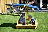 Sandkasten mit schwenkbarem Dach, Sitzbänke, Bodenplane, verschließbare Sandkiste aus Holz für Kinder, 120 x 120 x 120 cm, hellbraun - 7