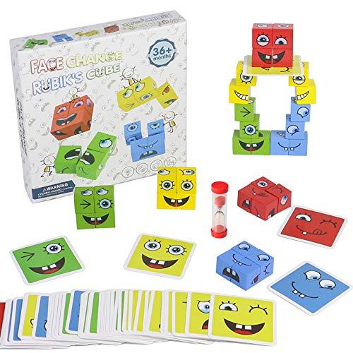 Juguetes Montessori Cubos de Cambio de Cara Bloques Construccion Niños Juguetes de Madera Puzzle Cubos Apilables Regalos Juegos Educativos niños 3 4 5 6 Años