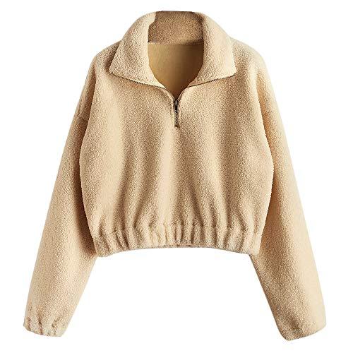 ZAFUL Damen Plüsch Sweatshirt mit Stehkragen Pullover Halber Reißverschluss Langarm Braun Medium