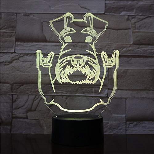 Jiushixw Nachtlampje van acryl 3D met afstandsbediening, kleurverandering, tafellamp, snor, portret van hond snoozer dier en gebaar van steen modern voor IKEA lamp