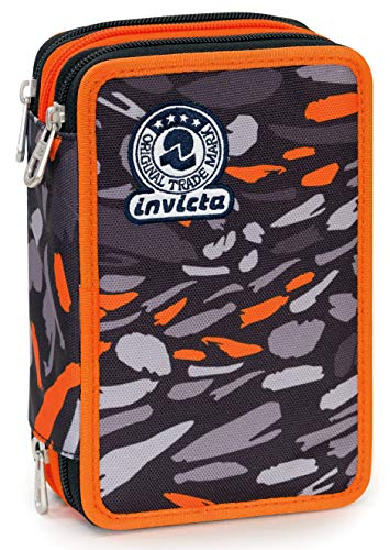 Astuccio 3 Zip Invicta Art, Nero, Con materiale scolastico: 18 pennarelli Giotto Turbo Color, 18 matite Giotto Laccato…