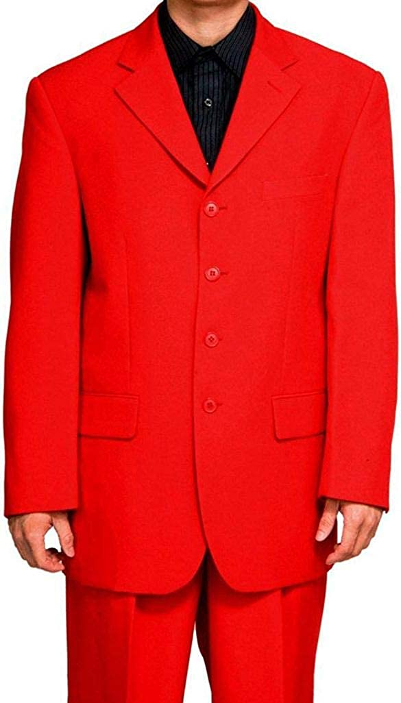 New Men's 4 Button Single Breasted Red Business Dress Suit