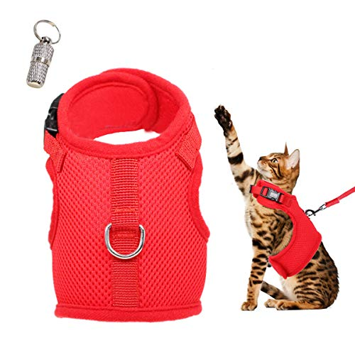 WONDERPUP Adjustable Cat Harness with Leash Set for Walking Escape Proof Soft Air Mesh for Kitty Puppy Rabbits Small Dogs Animal Red L