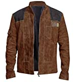 Mens Star Space Solo Solitary Warrior Cosplay Costume Brown Suede Leather Jacket/Zipper Closure