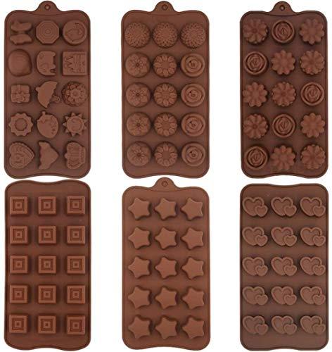6 Tipos De Moldes De Chocolate,Herramientas De Silicona Para Hornear,Moldes De Patrón De Postre De Bricolaje,Moldes Multifuncionales,Adecuados Para Chocolate,Dulces,Mantequilla De Maní
