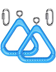 Dolibest 2Pcs Trapeze Swing Bar Rings with Carabiners, Swingset Accessories Outdoor for Ninja Line Swing Set Accessories Monkey Ring,Obstacle Ring Swing Toys Set for Kids Blue