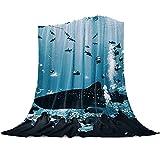 Multitud de Acuario Ocean Shark Patrón Manta de Franela Plaid Suave Acogedora Mullida Cálida Mantas de Lujo la 100% Microfibra para Modernas Colcha Sofa Manta-100x130cm
