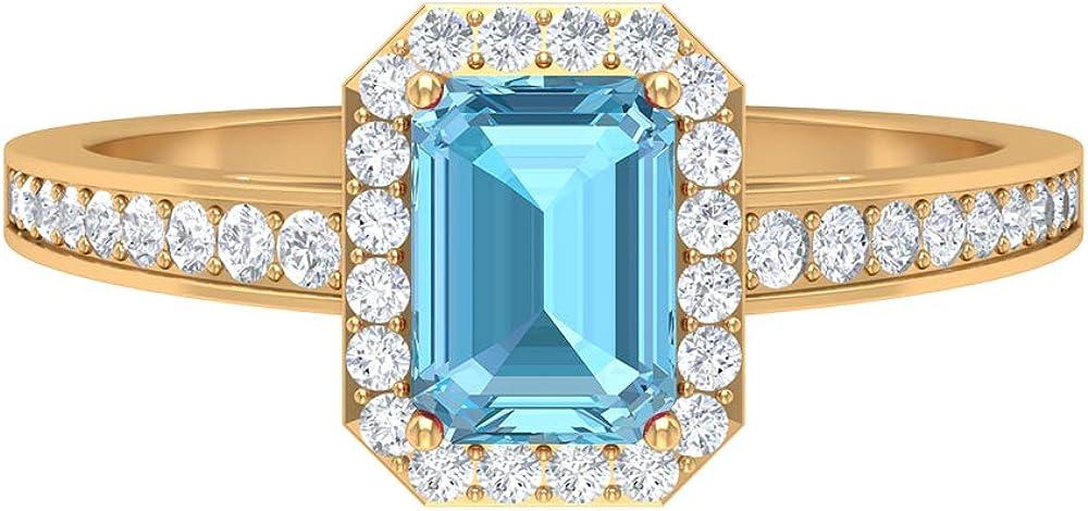 1.62 CT Free shipping Max 47% OFF New Aquamarine and Diamond Shape Ring 7X5 Octagon MM