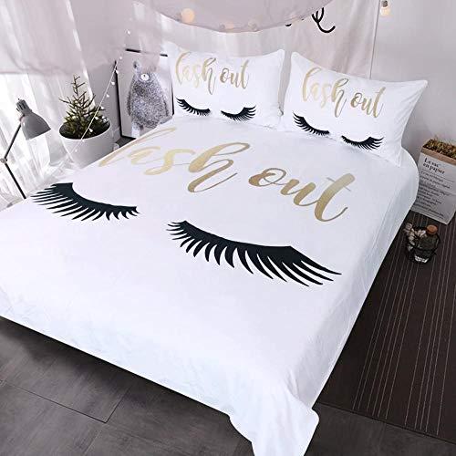 Lvvsovs 3D Printed Black eyelashes golden letter pattern Design Duvet Cover Set Bedding Set,Soft Microfiber,2 Pillowcases,Hidden Zipper, individual 135 x 200 cm