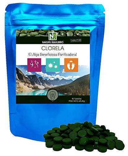 Clorela / 90 comprimidos de 505mg / NAKURU Equilibrio/Analizado y acondicionado en Francia/El Alga Beneficiosa Purificadora! (90 Tabletas de 505mg / Peso Neto: 45,45g / Azul)