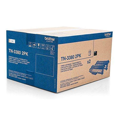 Original Brother TN-3380 2PK /, für HL-6100 Series 2X Premium Drucker-Kartusche, Schwarz, 2X 8000 Seiten