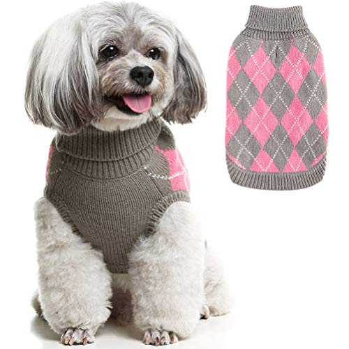 PAWCHIE Classic Dog Sweater Knit Turtleneck, Plaid Knitwear Sweaters, Warm Clothes for Small to Medium Dogs
