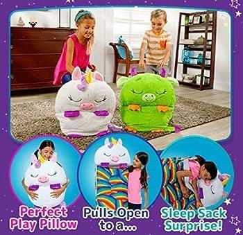 Aquarobo Sac de Couchage Happy Nappers, Sac de Couchage pour Enfants avec Oreiller, Sac de Couchage en Peluche Super Doux, Sacs de Couchage de Camping garçon Fille (Violet)