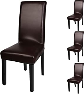 Fuloon Dining Chair Covers,Solid Pu Leather Waterproof and Oilproof Stretch Dining Chair Protctor Cover Slipcover (4 Sets, FF)