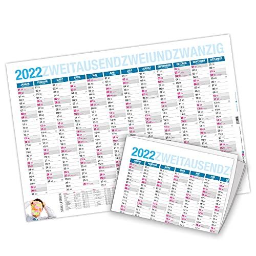 itenga Jahresplaner 2022 Wandkalender DIN A2 250g/m² gefalzt stabil blau
