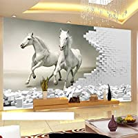 カスタム3D壁壁画壁紙3D立体ホワイトホースレンガ壁アート壁画リビングルーム寝室の背景PapelDe Parede, 200cm×140cm