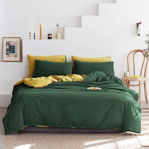 Lanqinglv Wende Bettwäsche 135x200cm 2 Teilig Dunkelgrün Gelb Wendebettwäsche Weiche Mikrofaser Bettbezug mit Reißverschluss und Kissenbezug 80x80cm
