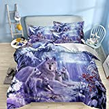 Wolf Duvet Cover Queen 3D Animal Snow Wolf Family Pattern Printed Bedding Duvet Cover with 2 Pillowcases for Home Bedding Decro Soft Microfiber 90x90 inches