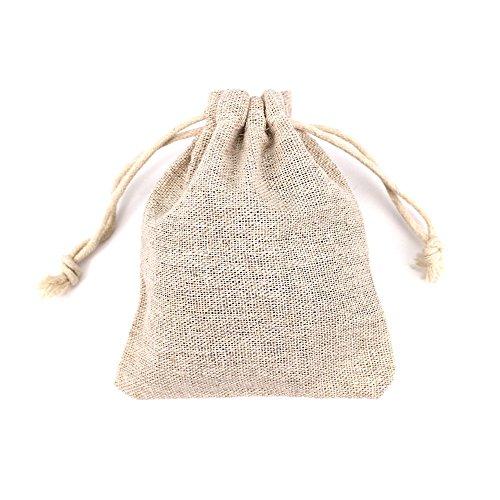 RUBY - 50 Bolsas de Lino 9 x 11, bolsitas de Tela, Saco arpillera, Bolsas para el Bricolaje, artesanales, para popurrí, reuniones, Bodas, Son fáciles de Cerrar y Abrir (M)