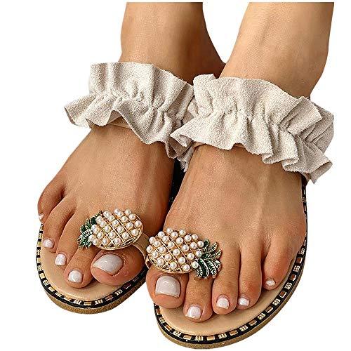 Women's Flip Flop Sandal, Ulanda Women Flat Sandals Pearl Bohemian Style Flip Flops Slippers Sandals for Women Beige