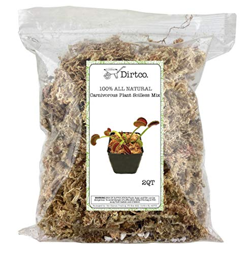 Sphagnum Moss Potting Mix for Carnivorous Plants, Moss, and Perlite Blend for Potting Venus Fly Traps, Sarracenia, Pitcher Plants, and More, All Natural, Medium Size Bag. (2qt)