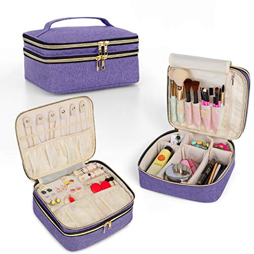 Teamoy Travel Makeup Brush Case, Multi-functional Makeup Train Case with 2 Compartment for Jewelry and Makeup Essentials, Purple