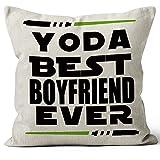 M-Qizi Yoda Best Boyfriend Ever Throw Pillow Case, 18 x 18 Inch, Funny Boyfriend Gift, Boyfriend Birthday Gift, Long Distance Relationship Gifts, Linen Cushion Cover for Sofa Couch Bed Decor