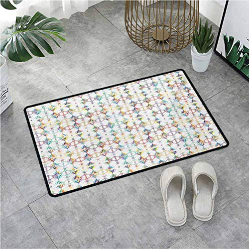 Summix Inside Door Mats Tribal Ornament Design Native American Motifs Artistic Inca Mayan Cultures,Door Rugs for Outside Entry with Non-Slip Base & Lock Edge 15.7X23.6 Inch,Multicolor