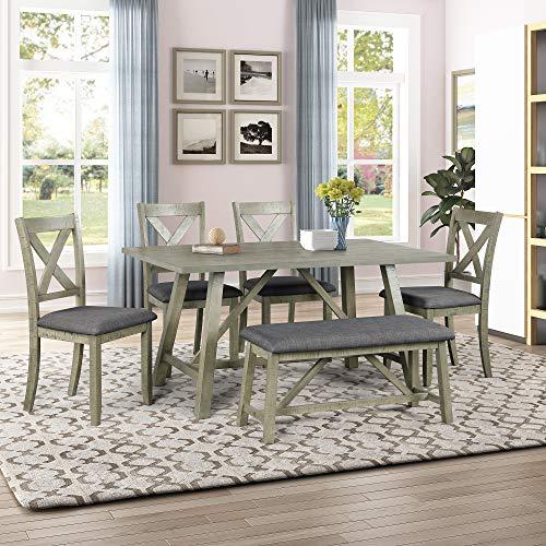 Harper & Bright Designs 6 Piece Rustic Style Dining Table Set Wood Kitchen Table Set with Table, Bench and 4 Chairs, Gray