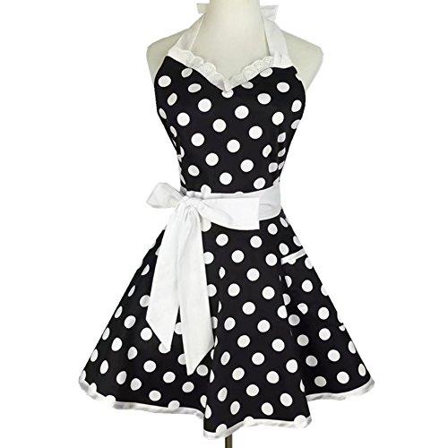 Sweetheart Delantales de cocina retro mujer niña lunares salón cocina pinafore vintage delantal vestido (negro)