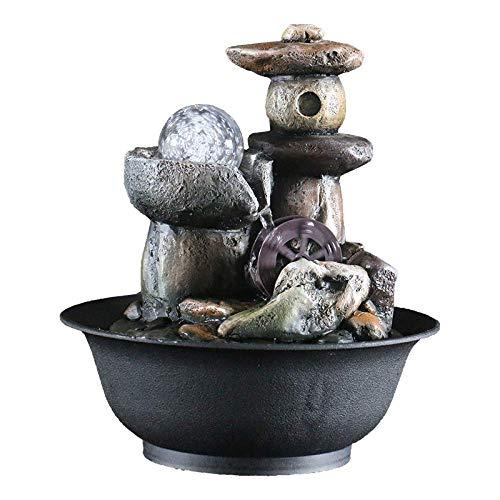 Liuboli Indoor Tabletop fontein Waterval fontein met LED De top-retro stenen tuin paviljoen hars ontspanning Zen binnendecoratie cadeau