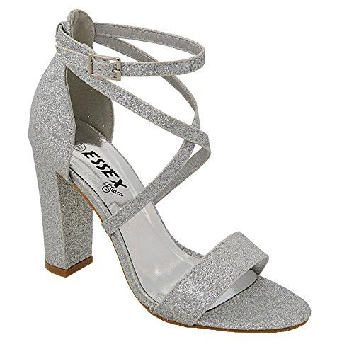 ESSEX GLAM Sandalo Donna Cinturino alla Caviglia Tacco a Blocco Fibbia Festa (UK 5 / EU 38 / US 7, Argento Glitter)