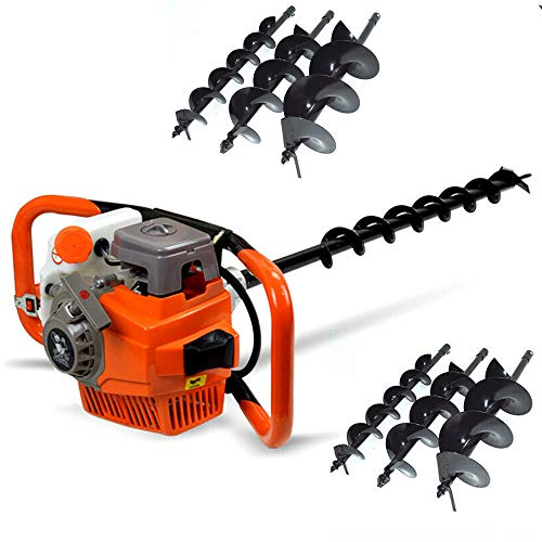 TFCFL 71CC Heavy Duty Gas Powered Post Hole Digger with 3pcs Earth Auger Drill Bits (4