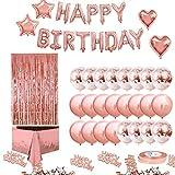 Happy Birthday Banner Balloon,Kit de Guirnalda de Globos Rosas,Confeti Happy Birthday,Globos Confeti Rosa,Globos de Estrellas,Decoración Cumpleaños de Globos